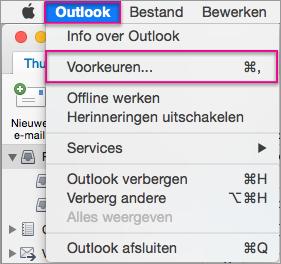 Outlook-menu > Voorkeuren