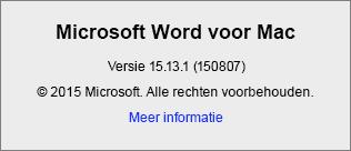 Schermafbeelding van de pagina Over Word in Word voor Mac