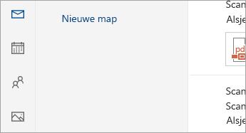 Schermafbeelding van de knoppen E-mail, Agenda, Personen, Foto's en Taken onder aan het navigatiedeelvenster