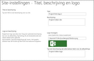 Sitebeschrijving en sitelogo-alttext in Project Online