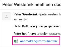 E-mail waarin de geadresseerde wordt uitgenodigd om een document te delen
