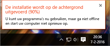 Dialoogvenster met de vastgelopen installatie van Office (na 90%)