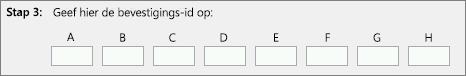 Toont waar u de bevestigings-id invoert die u van het Product Activation Center op uw telefoon ontvangt.