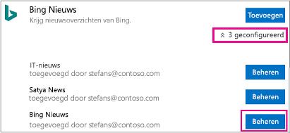 De knop beheren op de pagina Connectors