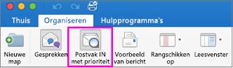Knop Postvak IN met prioriteit op het tabblad Organiseren van het lint