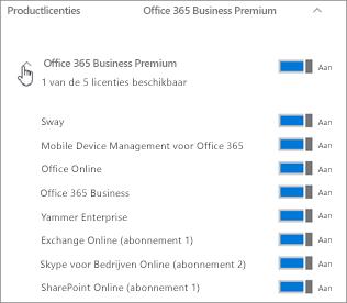 Vouw het abonnement uit om te zien welke Office 365-services in de licentie zijn opgenomen.