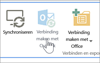 Lint met uitgeschakelde knop Verbinden met Outlook, met de knop aangewezen