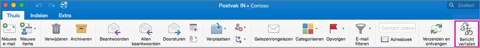 De knop Translator - Bericht vertalen op het lint van Outlook voor Mac