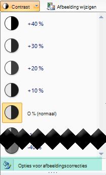 Als u de hoeveelheid contrast wilt aanpassen, selecteert u opties voor afbeeldingscorrecties