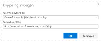 Dialoogvenster Hyperlink in de webversie van Outlook.