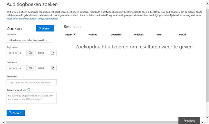 Office 365 activiteitenoverzicht gefilterd voor het maken van een uitnodiging