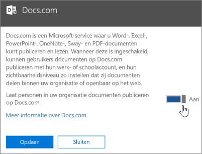 Zet de schuifregelaar op Aan om gebruikers in uw organisatie toe te staan te publiceren naar Docs.com.