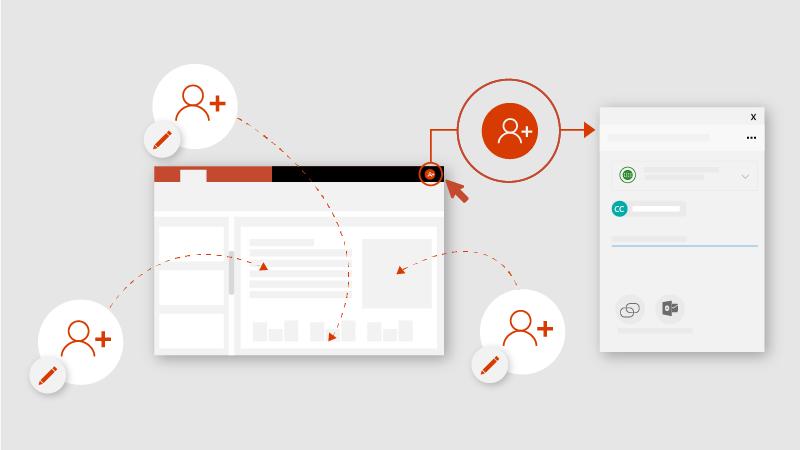 Ontwerp met meerdere mensen die een PowerPoint-document bewerken
