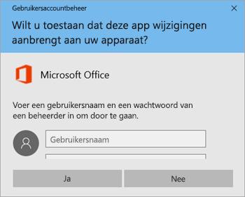 Schermafbeelding met venster Gebruikersaccountbeheer