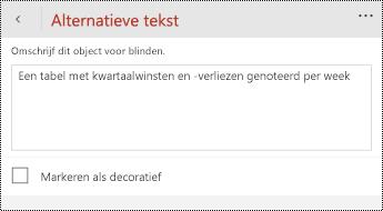 Dialoogvenster alternatieve tekst voor tabellen in PowerPoint voor Windows-telefoons.