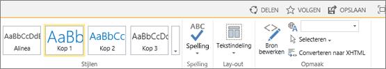 Schermafbeelding van het lint van SharePoint Online met de besturingselementen Delen, Volgen en Opslaan.