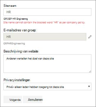 Schermafbeelding: Groepsnaambeleid: geblokkeerde SharePoint-sitenaam