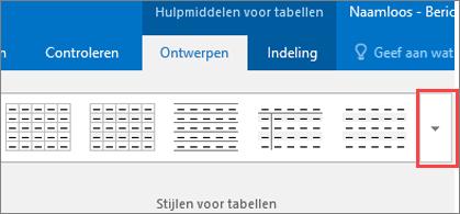 Schermafbeelding van de eerste zes tabelstijlen en de knop Meer om alle tabelstijlen weer te geven.