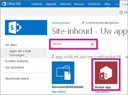 Een Access-app zoeken op de pagina Een app toevoegen in SharePoint