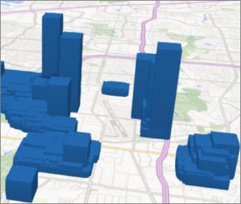 Power Map met vierkante kolommen