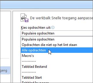 De optie Kies opdrachten uit in het menu Werkbalk Snelle toegang