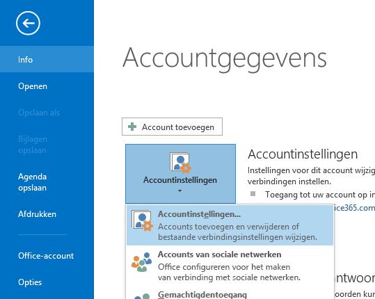 De optie Accountinstellingen is te vinden in het deelvenster Accountgegevens.