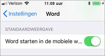 Ingeschakelde instelling Word starten in mobiele weergave