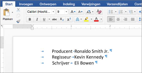 Een voorbeeld laat tekst zien nadat tabstops zijn verwijderd.