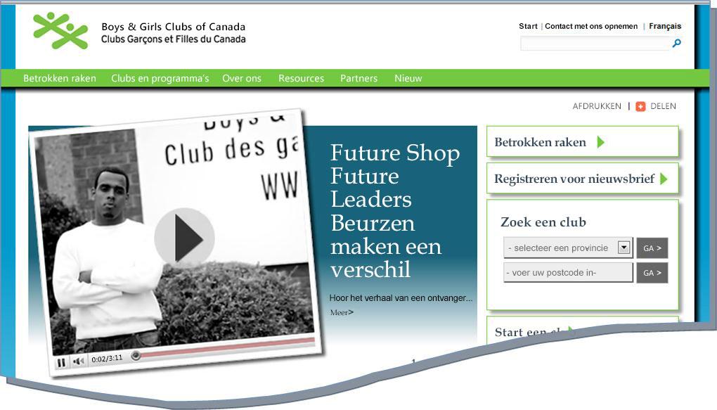 Momentopname van BGCC-website