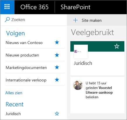 Schermafbeelding van de startpagina in de modus Modern in SharePoint.