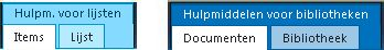 Tabbladen met hulpprogramma's voor lijsten en bibliotheken