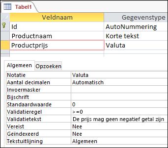 Veldvalidatieregel weergegeven in de ontwerpfunctie voor Access-tabellen