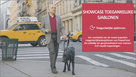 Een visueel beperkte man die wandelt met een blindengeleidehond