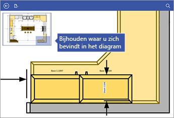 Pan-venster in de linkerbovenhoek van het scherm laat zien waar u zich in het diagram bevindt.