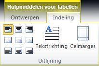 Tabblad Indeling van Hulpmiddelen voor tabellen
