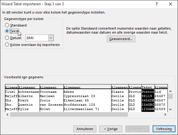 De optie Tekst voor de opmaak van kolomgegevens is gemarkeerd in de wizard Tekst importeren.