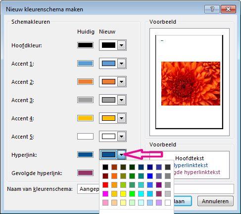 Een nieuw Publisher-kleurenschema maken om hyperlinkkleuren te wijzigen