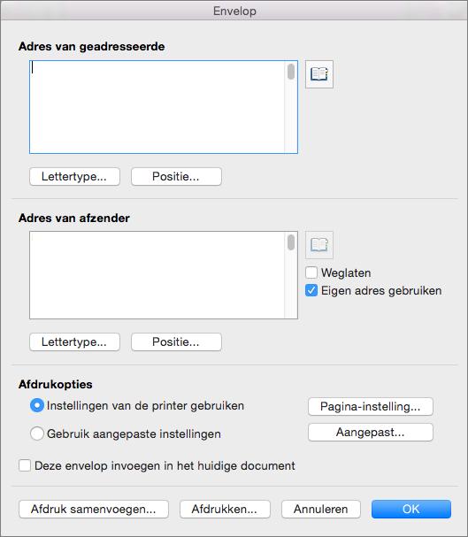 Voer adressen in en configureer stijlen en opties in het dialoogvenster Enveloppen.