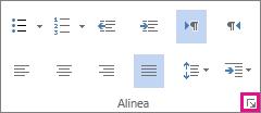 Klik op het tabblad Start op de pijl linksonder om het dialoogvenster Alinea te openen.