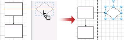 De pagina wordt automatisch vergroot wanneer u een shape plaatst
