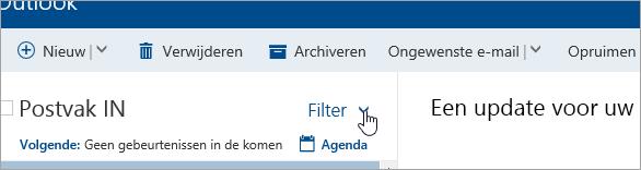 Schermafbeelding van de knop Filter