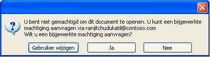 Dialoogvenster in Word waarin wordt weergegeven dat een document met beperkte machtiging is doorgestuurd naar een onbevoegde persoon