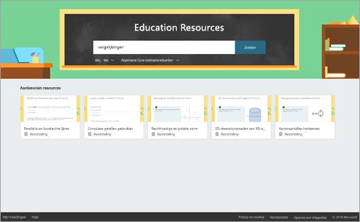 Zoekvak voor bronnen voor het onderwijs