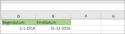 Begindatum in cel D53 1/1/2016, einddatum is in cel E53 12/31/2016