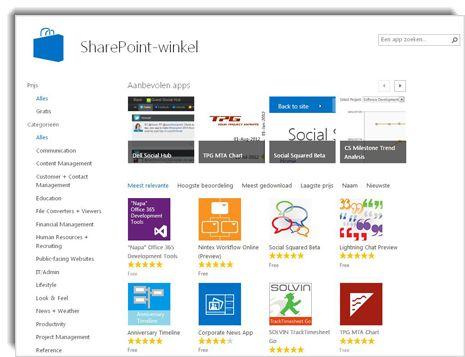 Schermafbeelding van de SharePoint Store