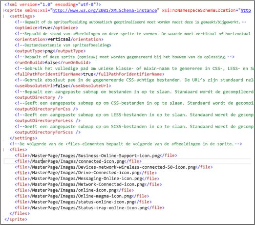 Schermafbeelding van sprite-XML-bestand