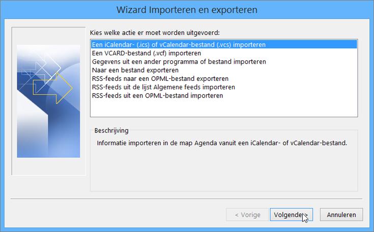 Kies Een iCalendar- of vCalendar-bestand importeren.