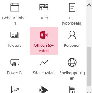 Schermafbeelding van de Office 365-menuknop Video in SharePoint.