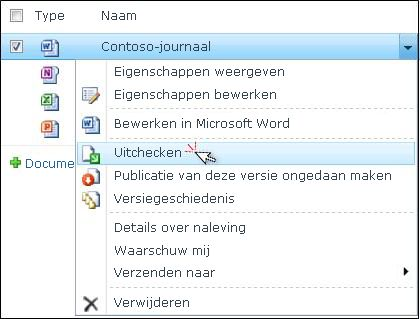 """Vervolgkeuzelijst voor een Word-bestand dat is geselecteerd in een SharePoint-lijst. """"Uitchecken"""" is gemarkeerd."""