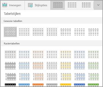 Galerie met tabelsjablonen in Windows Mobile